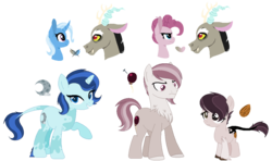 Size: 1086x644 | Tagged: artist:combatleaf, clone, discopie, discord, discord gets all the mares, female, hybrid, interspecies offspring, male, mean discopie, mean pinkie pie, oc, offspring, parent:discord, parent:mean pinkie pie, parent:pinkie pie, parents:discopie, parents:mean discopie, parents:trixcord, parent:trixie, pinkie pie, safe, shipping, straight, the mean 6, trixcord, trixie