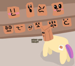 Size: 1000x883 | Tagged: cute, cutie mark, decisions, expressions, oc, ocbetes, oc:paper bag, paper bag, pony, safe, solo, tape, trypophobia