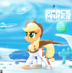 Size: 5600x5700 | Tagged: absurd res, applejack, april fools, april fools 2019, artist:theretroart88, clothes, cowboy hat, earth pony, equestria daily, female, freckles, g5, hat, mare, movie, planet, pony, safe, space, space mares, stetson