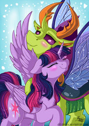 Size: 1024x1449 | Tagged: safe, artist:julunis14, thorax, twilight sparkle, alicorn, changedling, changeling, pony, antlers, blushing, chest fluff, chin fluff, eyes closed, female, heart, hoof fluff, king thorax, leg fluff, male, mare, shipping, smiling, spread wings, straight, twilight sparkle (alicorn), twirax, wing fluff, wings
