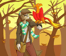 Size: 1392x1180 | Tagged: anthro, artist:whatsapokemon, autumn, clothes, earth pony, female, glasses, oc, oc:wishful thought, pet, phoenix, safe