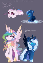 Size: 1920x2769 | Tagged: safe, artist:magnaluna, princess celestia, princess luna, alicorn, pony, :p, alternate universe, baby, baby pony, cewestia, crown, cute, cutelestia, duo, female, filly, headcanon, jewelry, lunabetes, magic, magic circle, mare, question mark, raspberry, regalia, royal sisters, siblings, silly, sisters, summoning, summoning circle, tongue out, twin sisters, twins, weapons-grade cute, woona, younger