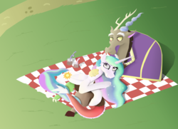 Size: 4785x3457 | Tagged: safe, artist:mr100dragon100, discord, princess celestia, dislestia, female, male, picnic blanket, shipping, straight