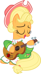 Size: 1141x2049   Tagged: safe, artist:littmosa, applejack, earth pony, pony, sparkle's seven, apple, apple chord, clothes, female, food, guitar, hat, inkscape, mare, simple background, solo, transparent background, vector