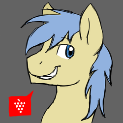 Size: 1080x1080 | Tagged: artist:thundershock0823, bust, goldengrape, grape, gray background, pictogram, pony, portrait, profile, safe, simple background, sir colton vines iii, smiling, solo, speech bubble