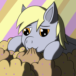 Size: 2000x2000 | Tagged: abstract background, artist:m3g4p0n1, derpy hooves, food, muffin, relaxing, safe, shadow, solo
