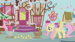 Size: 1280x720 | Tagged: berry punch, berryshine, duck, fluttershy, griffon the brush off, medley, pinkie pie, pony, safe, screencap, sugarcube corner, twinkleshine
