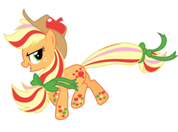 Size: 2700x2000 | Tagged: applejack, applejack's hat, artist:ashidaru, bow, cowboy hat, earth pony, female, hair bow, hat, mare, open mouth, pony, rainbow power, safe, simple background, smiling, solo, tail bow, transparent background, twilight's kingdom, vector