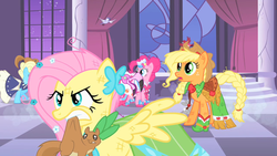 Size: 1280x720 | Tagged: safe, screencap, applejack, fluttershy, pinkie pie, bird, flamingo, pony, squirrel, the best night ever, clothes, dress, gala dress, mouth hold