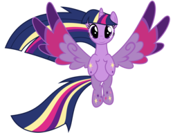 Size: 2600x2000 | Tagged: safe, artist:ashidaru, twilight sparkle, alicorn, pony, twilight's kingdom, colored wings, cute, female, looking at you, mare, multicolored wings, rainbow power, simple background, smiling, solo, spread wings, transparent background, twiabetes, twilight sparkle (alicorn), vector, wings