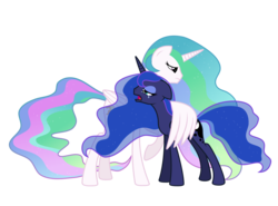 Size: 2700x2000 | Tagged: safe, artist:ashidaru, princess celestia, princess luna, alicorn, pony, comforting, crying, female, frown, hug, mare, open mouth, royal sisters, sad, simple background, sisters, solo, transparent background, winghug
