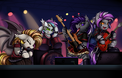 Size: 2900x1868 | Tagged: safe, artist:pridark, oc, oc only, oc:azalea veil, oc:celestial aegis, oc:eclaircie, oc:stormy night, bat pony, pony, badass, band, bass guitar, bat pony oc, bipedal, clothes, commission, concert, drum kit, drums, drumsticks, electric guitar, eyes closed, guitar, hoof hold, microphone, musical instrument, open mouth, plaid skirt, singing, skirt, spotlight, stage