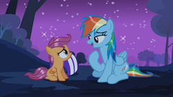 Size: 1357x762   Tagged: safe, artist:xrainbowicecreamx, rainbow dash, scootaloo, pegasus, pony, sleepless in ponyville, cute, cutealoo, dashabetes, duo, duo female, female, filly, helmet, lidded eyes, looking at each other, mare, night, remake, sitting, sky, smiling, stars