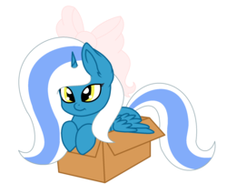 Size: 1717x1461 | Tagged: safe, artist:princeduskstripe, oc, oc only, oc:fleurbelle, alicorn, pony, alicorn oc, base used, bow, box, female, hair bow, happy, mare, pony in a box, ribbon, simple background, transparent background, yellow eyes