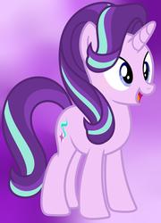 Size: 3824x5304 | Tagged: safe, artist:parisa07, starlight glimmer, pony, unicorn, cute, female, glimmerbetes, mare, open mouth, purple background, simple background, smiling, solo