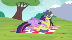 Size: 1197x668 | Tagged: alicorn, artist:3d4d, cometlight, comet tail, female, male, picnic blanket, pony, safe, shipping, straight, tree, twilight sparkle, twilight sparkle (alicorn)