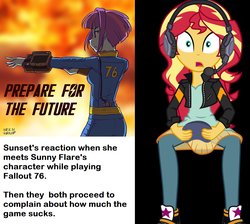 Size: 1464x1312 | Tagged: safe, artist:uotapo, sunny flare, sunset shimmer, equestria girls, game stream, spoiler:eqg series (season 2), fallout, fallout 76, gamer sunset, pipboy, sunny flare's wrist devices, text