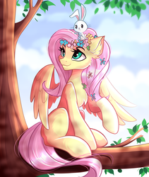 Size: 2477x2928   Tagged: safe, artist:airiniblock, angel bunny, fluttershy, pegasus, pony, anatomically incorrect, collaboration, cute, dappled sunlight, duo, female, floral head wreath, flower, head turn, human shoulders, looking up, mare, outdoors, raised hoof, rcf community, sitting, smiling, spread wings, tree, tree branch, wings