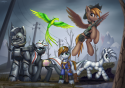 Size: 6768x4785 | Tagged: safe, artist:setharu, oc, oc only, oc:calamity, oc:littlepip, oc:pyrelight, oc:steelhooves, oc:velvet remedy, oc:xenith, balefire phoenix, earth pony, ghoul, pegasus, phoenix, pony, unicorn, zebra, fallout equestria, absurd resolution, applejack's rangers, armor, battle saddle, canterlot, canterlot ghoul, clothes, commander, dashite, dead tree, dock, fanfic, fanfic art, female, fluttershy medical saddlebag, flying, group, gun, hat, hooves, horn, male, mare, medical saddlebag, open mouth, pipbuck, power armor, raised hoof, rifle, saddle bag, scar, smiling, spread wings, stallion, steel ranger, teeth, tree, vault suit, wall of tags, wasteland, weapon, wings, zebra oc