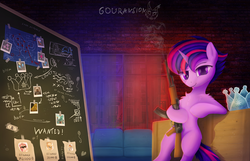 Size: 4000x2569 | Tagged: safe, artist:gouransion, twilight sparkle, pony, unicorn, sparkle's seven, spoiler:s09e04, :j, ak-47, alternate hairstyle, assault rifle, bipedal, bipedal leaning, blueprint, brick wall, chalkboard, couch, crown, dollar, female, fluffy, gun, hard-won helm of the sibling supreme, leaning, looking at you, mare, polaroid, punklight sparkle, rifle, smoking gun, solo, tongue out, wanted poster, weapon, window