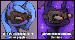Size: 1211x658 | Tagged: safe, artist:plotcore, nightmare moon, princess luna, alicorn, pony, /mlp/, 4chan, bust, comic, disappointment, drawthread, female, funny, funny as hell, meme, nightmare moon vision goggles, nightmare vision goggles, ponified meme, s1 luna, simple background, solo
