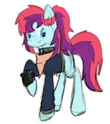 Size: 442x501 | Tagged: artist:golden ray, fallout, fallout equestria, oc, oc:taffy swirl, pipbuck, pony, safe, sketch