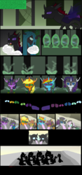 Size: 3456x7400 | Tagged: safe, artist:mr100dragon100, apple bloom, applejack, ocellus, pharynx, queen chrysalis, rainbow dash, rarity, scootaloo, spike, sweetie belle, thorax, twilight sparkle, changeling, changeling queen, alien (franchise), alternate universe, bloomling, changelingified, cocoon, comic, dashling, female, pre changedling ocellus, request, scootaling, species swap, transformation