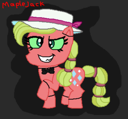 Size: 354x331 | Tagged: safe, artist:drypony198, pony, animatronic, cowboys and equestrians, five nights at freddy's, green eyes, hat, mad (tv series), mad magazine, maplejack, sun hat