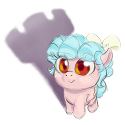 Size: 1600x1600 | Tagged: safe, artist:funnyfany, cozy glow, pegasus, pony, :>, chessmaster, cozybetes, cute, female, filly, freckles, rook, shadow, simple background, solo, white background