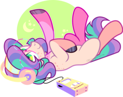 Size: 1280x1014 | Tagged: safe, artist:daydreamprince, oc, earth pony, pony, female, glasses, mare, on back, solo, walkman