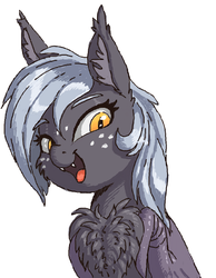 Size: 428x552 | Tagged: artist:shydale, bat pony, bat pony oc, chest fluff, chest fluff squeeze, cute, :d, ear fluff, fangs, flockmod, freckles, oc, oc:reeree, open mouth, pony, safe, smiling