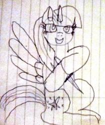 Size: 982x1174 | Tagged: safe, artist:platinumdrop, twilight sparkle, alicorn, pony, dagger, female, ink, lined paper, monochrome, sketch, solo, traditional art, twilight sparkle (alicorn), weapon