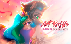 Size: 616x384 | Tagged: artist:dolorosacake, artraffle, art raffle, celestibra, female, good king sombra, king sombra, male, oc, pony, princess celestia, raffle, safe, shipping, straight