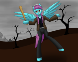 Size: 2560x2048 | Tagged: artist:hugo231929, bat, clothes, looking at you, pony, post-apocalyptic, safe, semi-anthro, shrug, smiling, solo, wings
