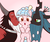 Size: 1920x1600 | Tagged: safe, artist:sazanamibd, cozy glow, lord tirek, queen chrysalis, centaur, changeling, changeling queen, pegasus, pony, the beginning of the end, spoiler:s09e01, spoiler:s09e02, :o, a better ending for chrysalis, a better ending for cozy, a better ending for tirek, bow, bracer, cozybetes, crown, cute, daddy tirek, eyes closed, family, female, filly, foal, freckles, gradient background, hair bow, harsher in hindsight, heartwarming, jewelry, kiss on the cheek, kiss sandwich, kissing, legion of doom, male, mare, mommy chrissy, nose piercing, nose ring, open mouth, piercing, regalia, smiling, surprised, sweet, sweet dreams fuel, tail bow, trio, wall of tags, wholesome