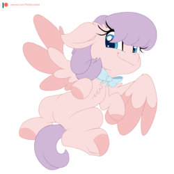 Size: 2000x2000 | Tagged: safe, artist:discorded, oc, oc only, oc:cutie pie, pegasus, pony, bowtie, colored hooves, cute, female, hair over eyes, imminent belly rub, looking at you, mare, ocbetes, on back, patreon, patreon logo, patreon reward, simple background, solo, transparent background