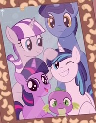 Size: 548x699 | Tagged: safe, screencap, night light, shining armor, spike, twilight sparkle, twilight velvet, dragon, pony, unicorn, the point of no return, baby, baby spike, blank flank, cropped, cute, family photo, female, filly, filly twilight sparkle, food, impossibly long neck, macaroni, mare, missing cutie mark, necc, pasta, photo, picture frame, shining adorable, sparkle family, sparkle siblings, spikabetes, spike's family, spike's parents, twiabetes, twilight's family, twilight's parents, unicorn twilight, young, younger