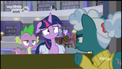 Size: 1149x648 | Tagged: alicorn, bellflower blurb, booksmart, desk, discovery family logo, floppy ears, librarian, library, pokey pierce, saddle bag, safe, screencap, seafoam, sea swirl, spike, spoiler:s09e05, the point of no return, twilight sparkle, twilight sparkle (alicorn), worried