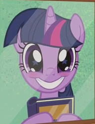 Size: 501x657 | Tagged: safe, screencap, twilight sparkle, pony, unicorn, the point of no return, adorkable, blushing, book, bookhorse, cropped, cute, dork, female, grin, happy, hoof hold, looking at you, mare, photo, picture, picture frame, smiling, solo, squee, starry eyes, twiabetes, unicorn twilight, wingding eyes