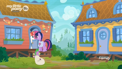 Size: 1920x1080 | Tagged: safe, screencap, rainbow stars, spike, twilight sparkle, alicorn, dragon, pony, the point of no return, spoiler:s09e05, discovery family logo, female, house, mailbag, mare, saddle bag, twilight sparkle (alicorn)