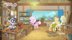 Size: 1920x1080 | Tagged: background pony, bird house, board, cane, carpentry, discovery family logo, drill, duct tape, earth pony, elderly, female, hammer, hay, male, mallet, mare, mouth hold, mr. waddle, paint bucket, pony, safe, saw, screencap, screwdriver, shelf, silver stable community, spoiler:s09e05, stallion, the point of no return, tools, unnamed pony, vise, wood, woodworking, workshop, wrench