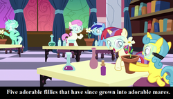 Size: 1134x648 | Tagged: safe, edit, edited screencap, screencap, lemon hearts, lyra heartstrings, minuette, moondancer, twinkleshine, pony, unicorn, celestial advice, adorableshine, book, captain obvious, caption, cropped, cute, dancerbetes, female, filly, filly lemon hearts, filly lyra, filly minuette, filly moondancer, filly twinkleshine, flower, goggles, lab, lemonbetes, lyrabetes, minubetes, princess celestia's school for gifted unicorns, text, younger