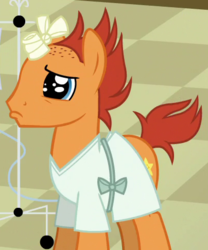 Size: 404x486 | Tagged: amputated horn, background pony, bandaged horn, broken horn, cropped, falling star (character), hooves, horn, hospital gown, male, pony, sad, safe, screencap, solo, stallion, unicorn, where the apple lies