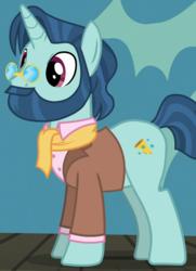 Size: 576x796   Tagged: safe, screencap, pony, unicorn, viva las pegasus, background pony, beard, clothes, cropped, facial hair, jacket, male, moustache, pince-nez, solo, stallion, unnamed pony
