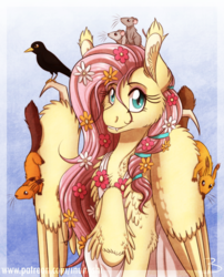 Size: 1600x1977 | Tagged: safe, artist:inuhoshi-to-darkpen, fluttershy, bird, mouse, pegasus, pony, squirrel, animal, blackbird, cheek fluff, clothes, cute, cute little fangs, ear fluff, fangs, feathered fetlocks, female, flower, flower in hair, fluttershy day, looking at you, mare, raised hoof, shyabetes, sitting on wing, solo, stray strand, unshorn fetlocks, wing claws, wings