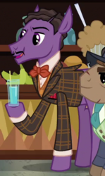 Size: 275x460 | Tagged: background pony, bowtie, clothes, cropped, drinking glass, dungeons and discords, earth pony, facial hair, hoof hold, jacket, lanky, male, moustache, pencil moustache, pony, safe, screencap, solo focus, stallion, unnamed pony