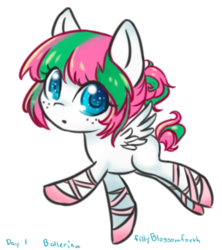 Size: 864x974 | Tagged: adoraforth, artist:bunnini, ballerina, blossomforth, colored pupils, cute, female, filly, hair bun, pegasus, pony, safe, simple background, solo, transparent background, younger