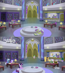 Size: 1280x1428 | Tagged: 2015, 2019, alicorn, amending fences, background pony, bellflower blurb, book, canterlot, canterlot library, comparison, glowing horn, horn, levitation, library, lollipop lane, magic, magic aura, moondancer, parasol, pokey pierce, pony, reading, safe, screencap, seafoam, season 5, season 9, sea swirl, spike, spoiler:s09e05, star bright, telekinesis, the point of no return, tropical sunrise, twilight sparkle, twilight sparkle (alicorn), twinkleshine, unnamed pony