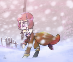 Size: 1295x1115 | Tagged: safe, artist:tmochka, march gustysnows, pony, blizzard, female, fence, hat, mare, signature, snow, snowfall, solo, ushanka, winter