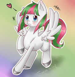 Size: 1177x1200 | Tagged: adoraforth, artist:tomat-in-cup, blossomforth, blushing, colored hooves, cute, female, gradient background, heart, mare, pegasus, pony, raised hoof, safe, solo, spread wings, wing flap, wings